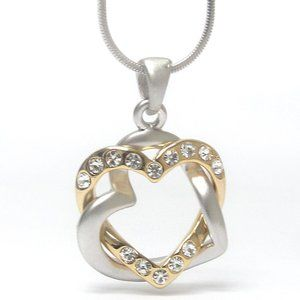 Gold /Silver Plated Double Heart Necklace 16 in